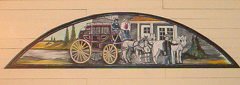 The erstwhile Wells Fargo stagecoach is depicted in one of Michele de Onate's history-themed tableau