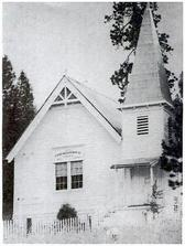 The nearby Congregational Church that overlooks the pioneer cemetery